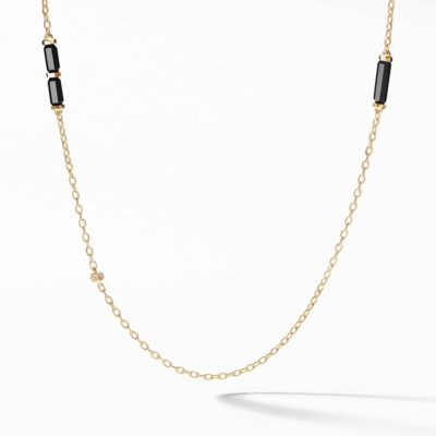David Yurman Barrels Long Station Necklace with Black Onyx and Diamonds in 18K Gold Image 1