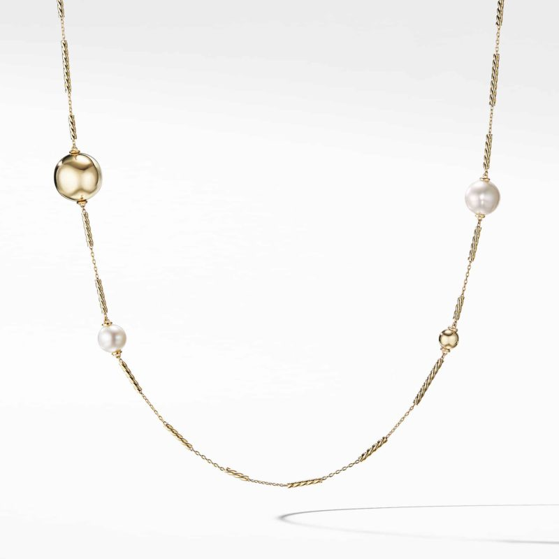 David Yurman Solari Long Station Necklace with Pearls in 18K Gold Image 1