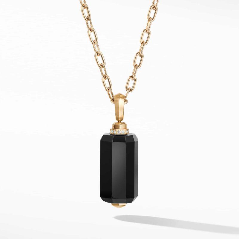 David Yurman Barrels Pendant Necklace with Diamonds and Black Onyx in 18K Gold Image 1