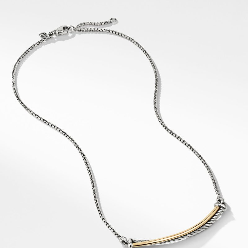 David Yurman Crossover Bar Necklace with 18K Gold Image 2