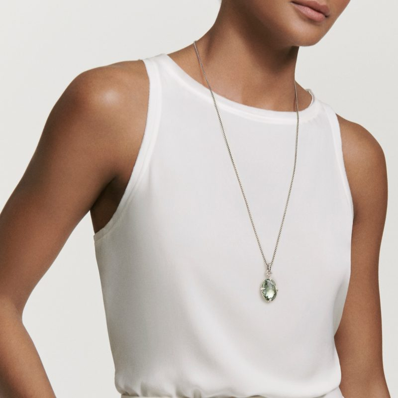David Yurman Chatelaine® Small Pendant Necklace with Black Orchid on Model