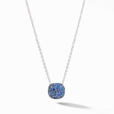 David Yurman Cushion Stud Pendant Necklace in 18K White Gold with Pavé Sapphires Image 1
