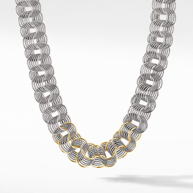 David Yurman DY Origami Medium Linked Necklace with 18K Yellow Gold Image 1