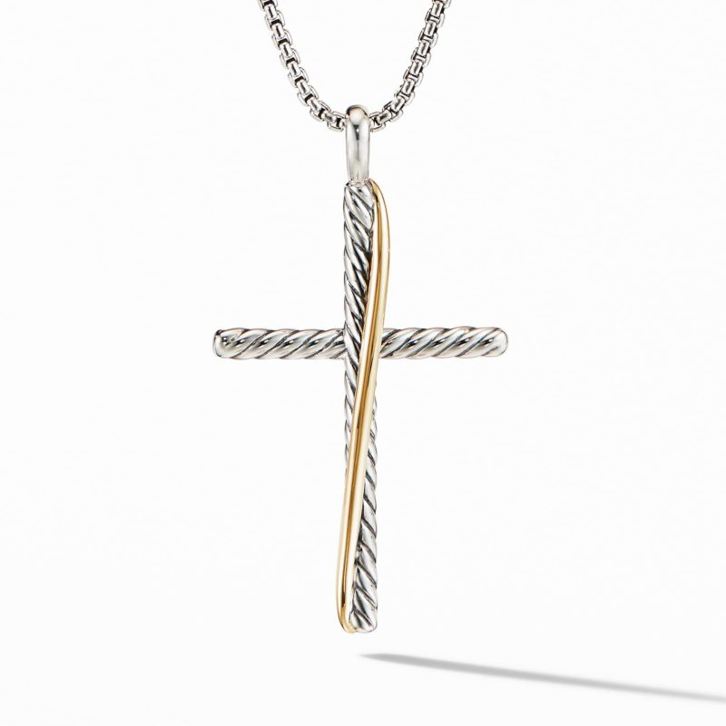 David Yurman Crossover XL Cross Necklace with 18K Yellow Gold Image 1