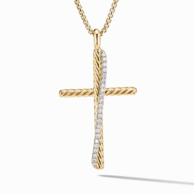 David Yurman Crossover XL Cross Necklace in 18K Yellow Gold with Diamonds Image 1