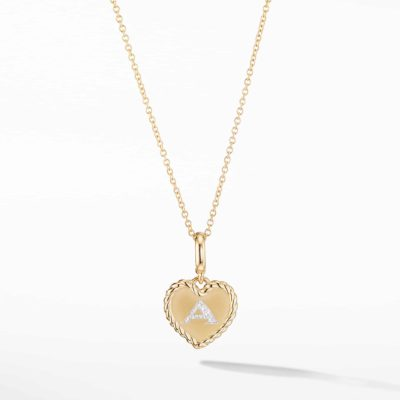 David Yurman Initial Heart Charm Necklace in 18K Yellow Gold with Pavé Diamonds Image 1