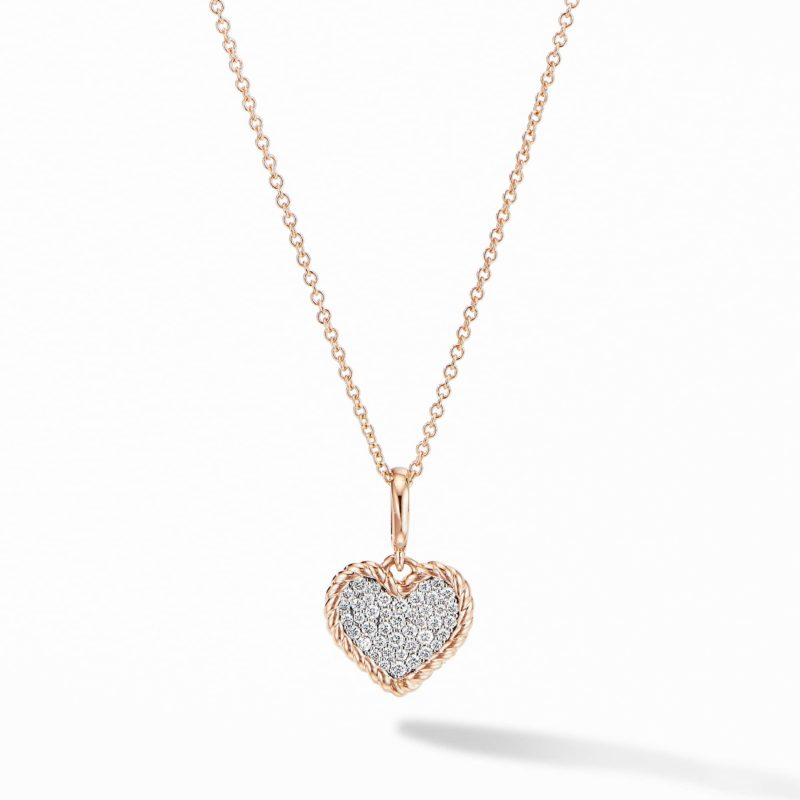 David Yurman Cable Collectibles® Pavé Plate Heart Charm Necklace in 18K Rose Gold Image 1