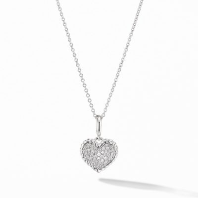 David Yurman Cable Collectibles® Pavé Plate Heart Charm Necklace in 18K White Gold Image 1