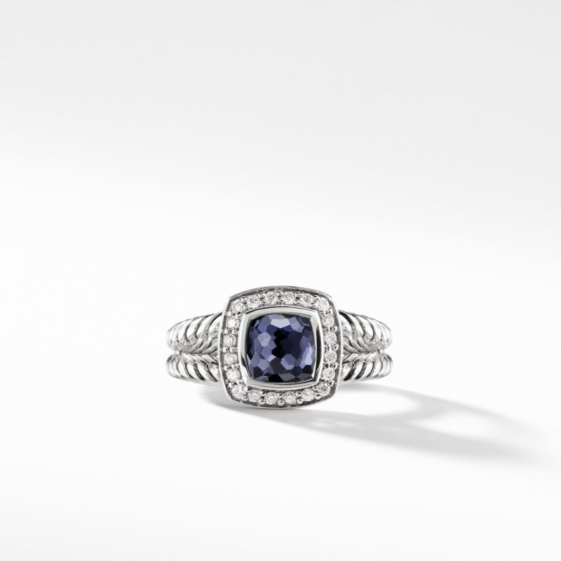 David Yurman Petite Albion Ring with Black Orchid and Diamonds Image 2