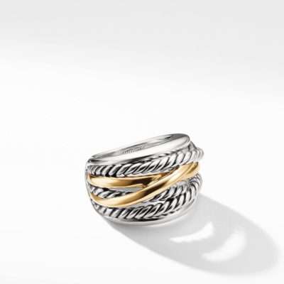 David Yurman Crossover Wide Ring with Gold Image 1