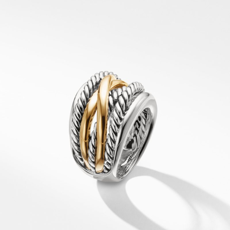 David Yurman Crossover Wide Ring with Gold Image 3