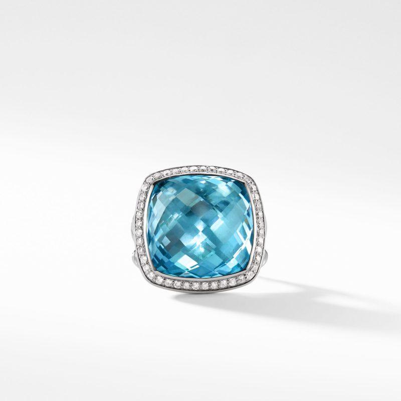 David Yurman Ring with Blue Topaz and Diamonds Image 2