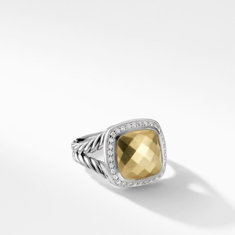David Yurman Ring with Gold Dome and Diamonds with 18K Gold Image 1