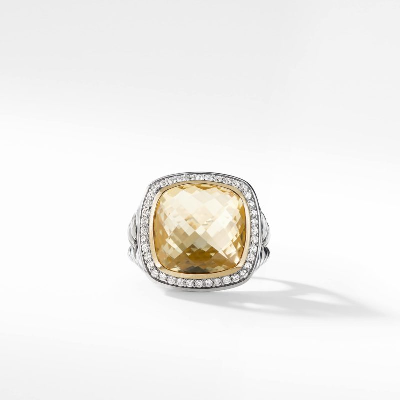 David Yurman Ring with Champagne Citrine and Diamonds with 18K Gold Image 2