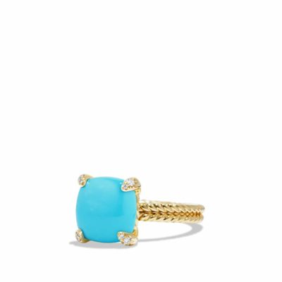 David Yurman Ring with Turquoise and Diamonds in 18K Gold Image