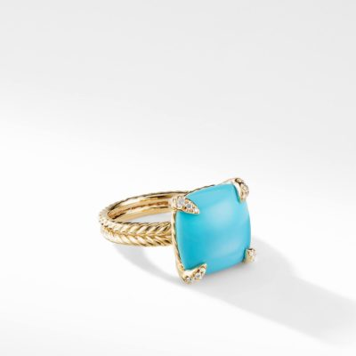 David Yurman Ring with Turquoise and Diamonds in 18K Gold Image 1
