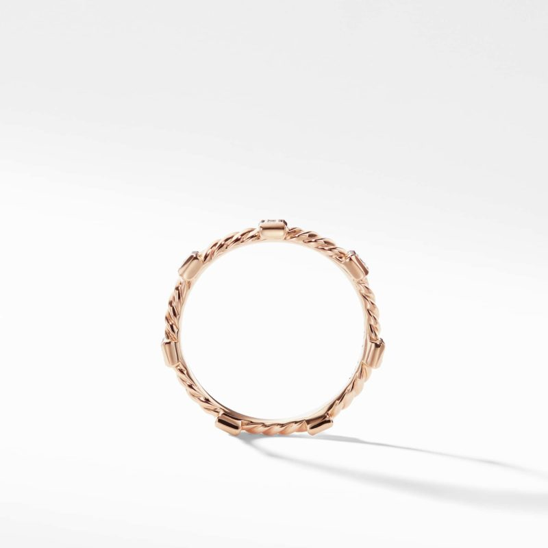 David Yurman Cable Collectibles Cable Stack Ring in 18K Rose Gold with Diamonds Image 2