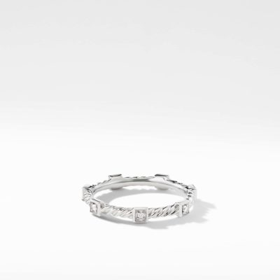 David Yurman Cable Collectibles Cable Stack Ring with Diamonds in 18K White Gold Image 1