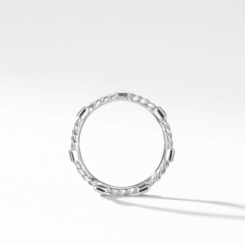 David Yurman Cable Collectibles Cable Stack Ring with Diamonds in 18K White Gold Image 2