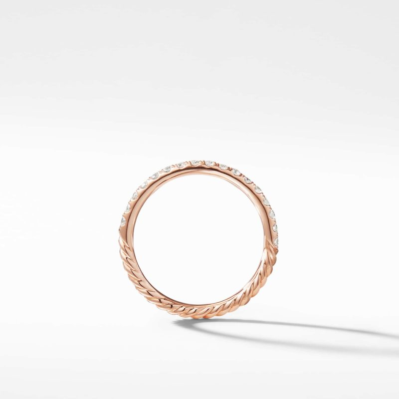 David Yurman Cable Pavé Band Ring in 18K Rose Gold with Diamonds Image 2