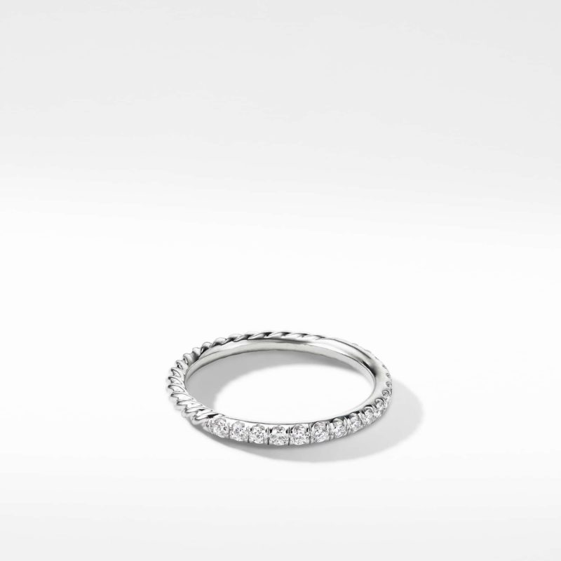 David Yurman Cable Pavé Band Ring with Diamonds in 18K Gold Image 1
