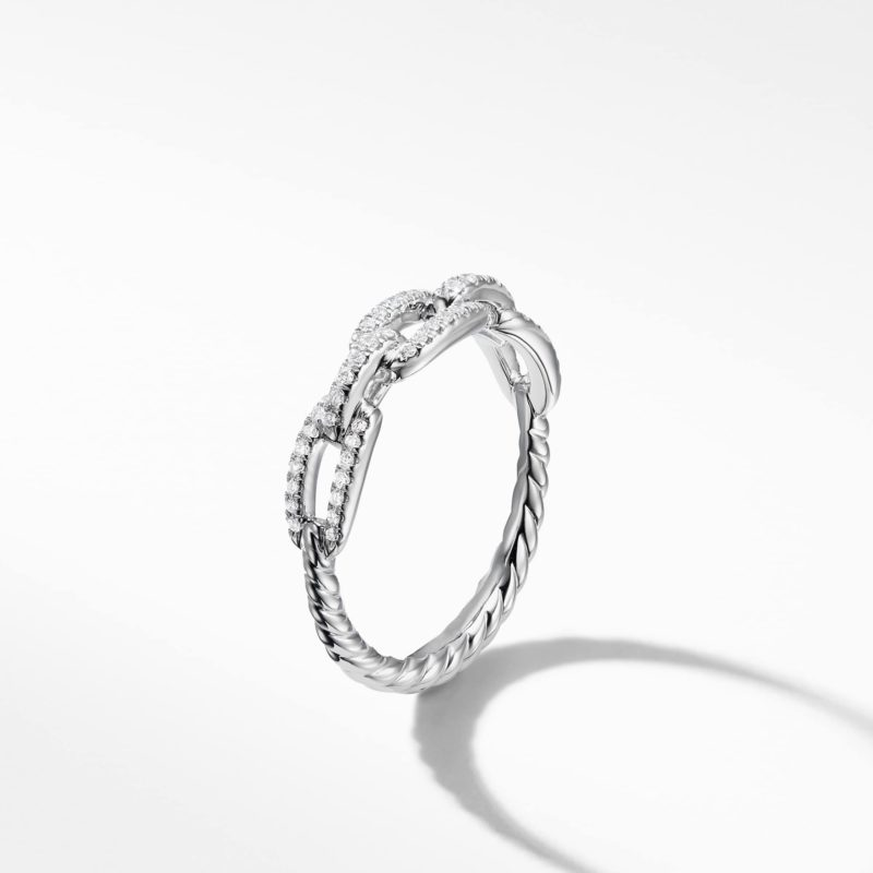 David Yurman Stax Single Row Pave Chain Link Ring with Diamonds in 18K White Gold
