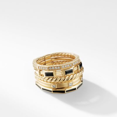 David Yurman Stax Color Ring with Black Spinel