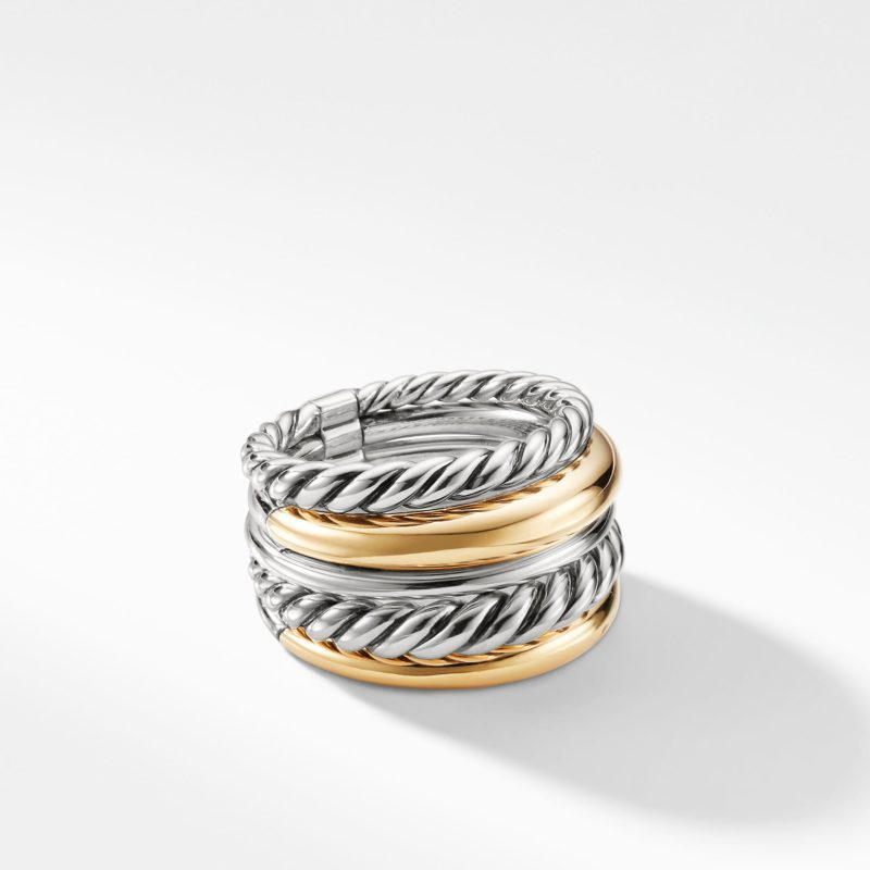 David Yurman Pure Form® Wide Ring with 18K Gold Image 1
