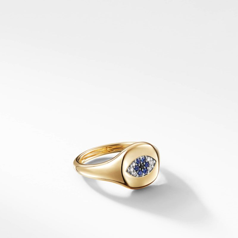 David Yurman Cable Collectibles Evil Eye Mini Pinky Ring in 18K Gold with Diamonds Image 1