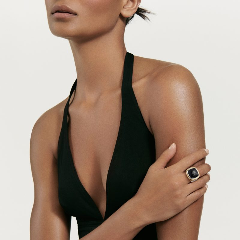David Yurman Albion® Statement Ring with 18K Gold and Black Onyx on Model