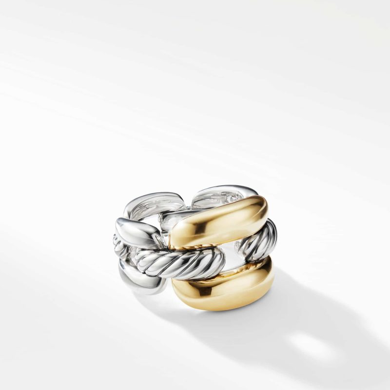 David Yurman Wellesley Link Large Chain Link Ring with 18K Gold Image 1