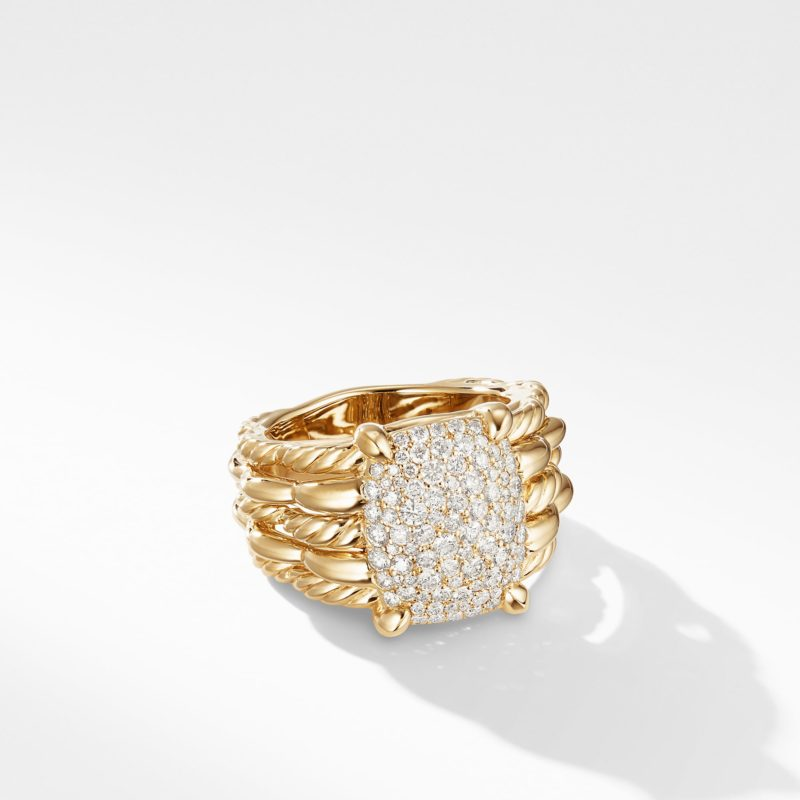 David Yurman Tides Statement Ring in 18K Yellow Gold with Pavé Plate Image 1