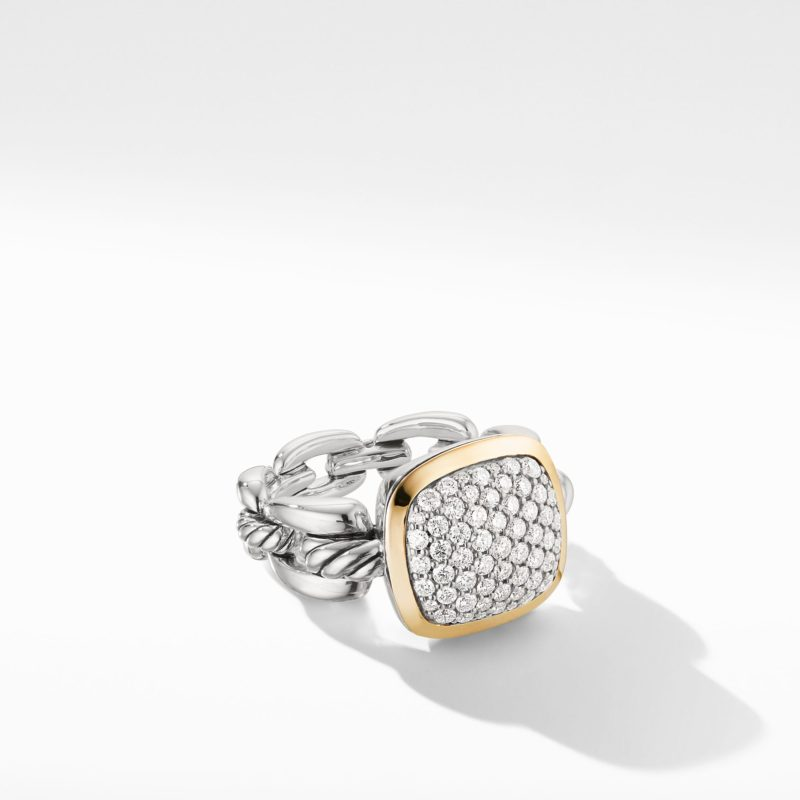David Yurman Wellesley Link Statement Ring with 18K Gold and Diamonds Image 1