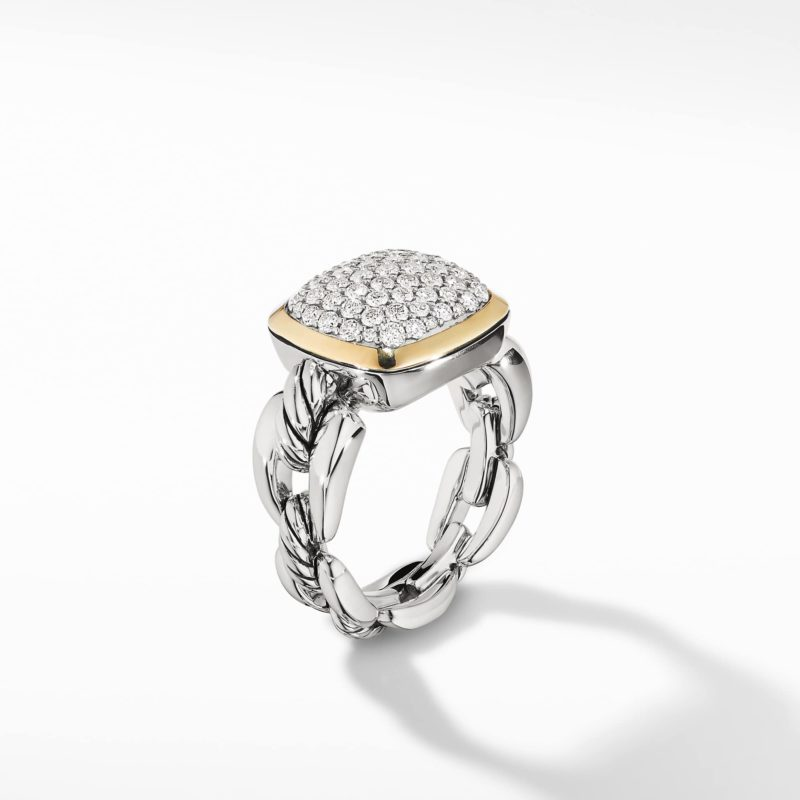 David Yurman Wellesley Link Statement Ring with 18K Gold and Diamonds Image 3