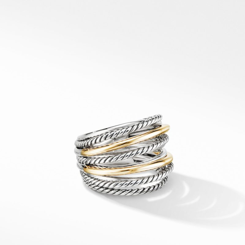 David Yurman Crossover Wide Ring with 18K Yellow Gold Image 1