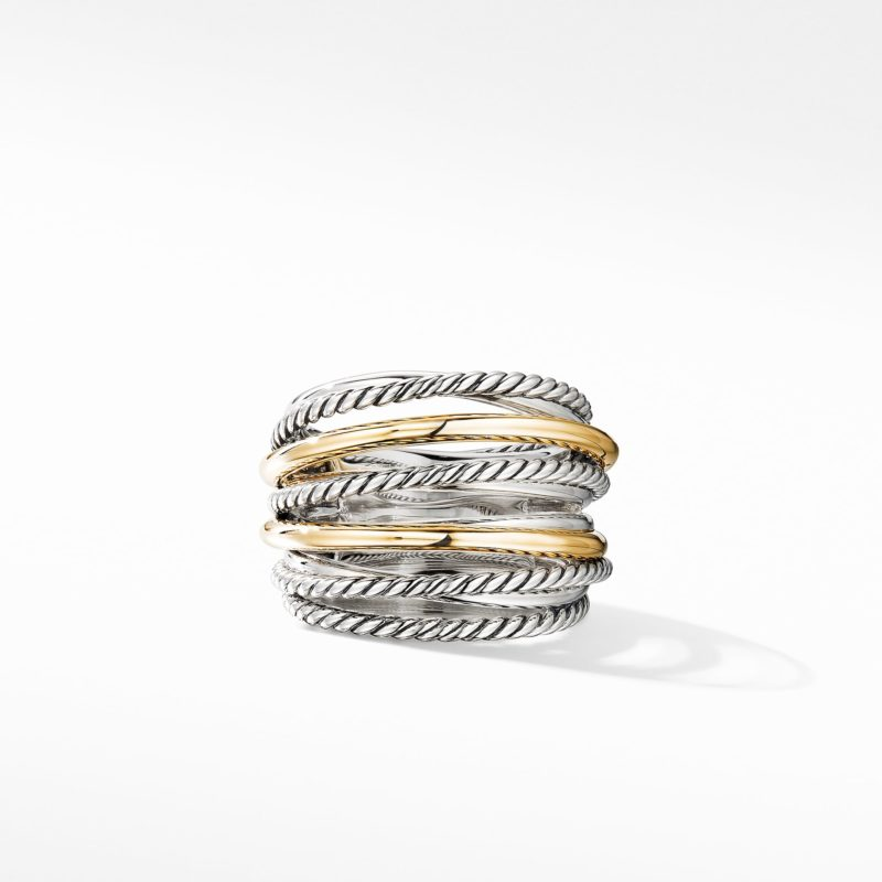 David Yurman Crossover Wide Ring with 18K Yellow Gold Image 2
