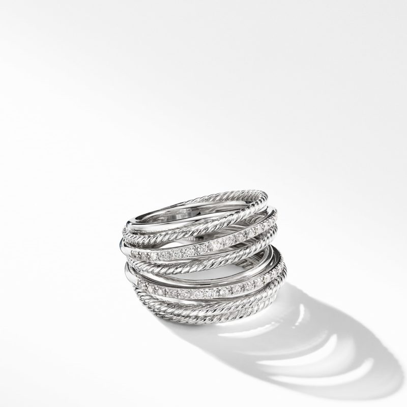 David Yurman The Crossover Collection® Wide Ring with Diamonds Image