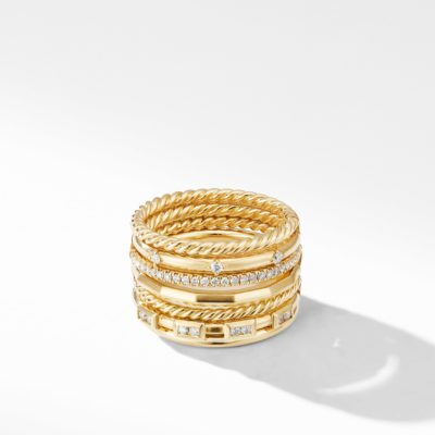 David Yurman Stax Cable and Pavé Ring in 18K Yellow Gold Image 1