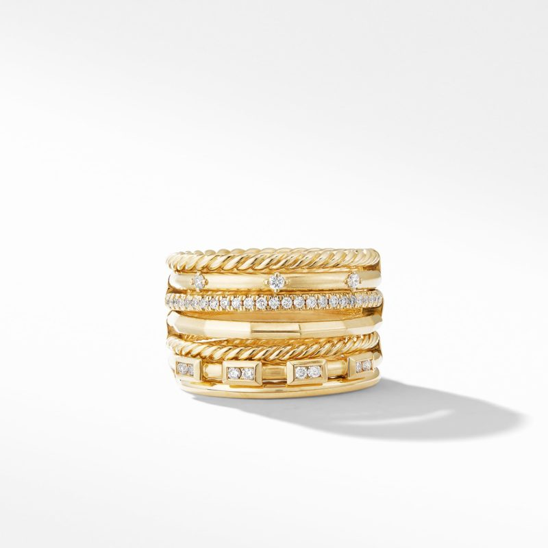 David Yurman Stax Cable and Pavé Ring in 18K Yellow Gold Image 2
