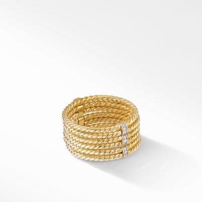 David Yurman DY Origami 6-Row Cable Ring in 18K Yellow Gold with Diamonds Image 1