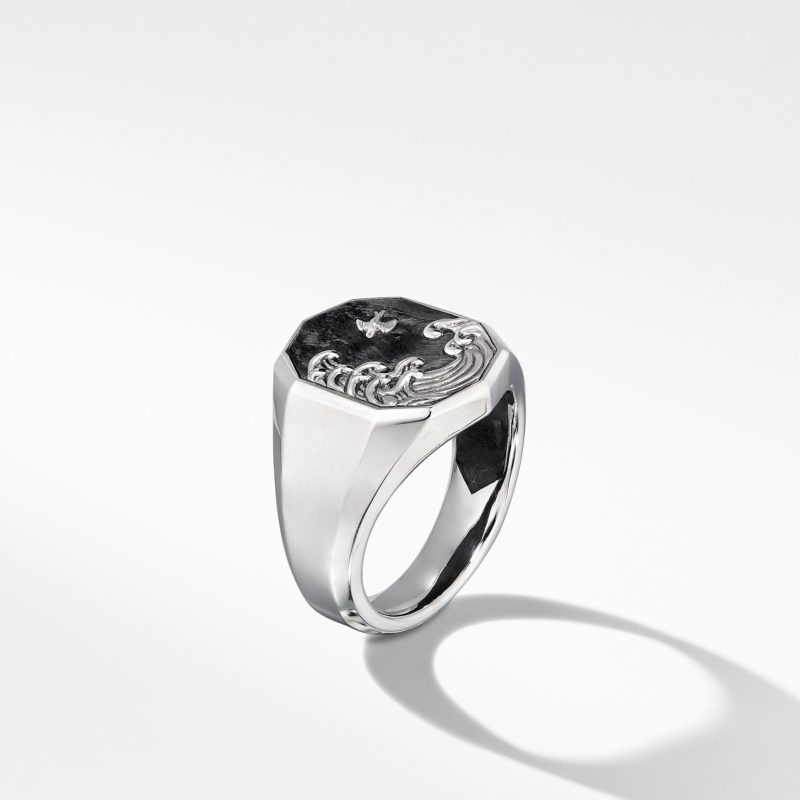 David Yurman Waves Signet Ring with Forged Carbon Image 3