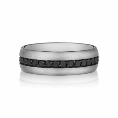 Henri Daussi Men's Black Diamond Wedding Band Image 1
