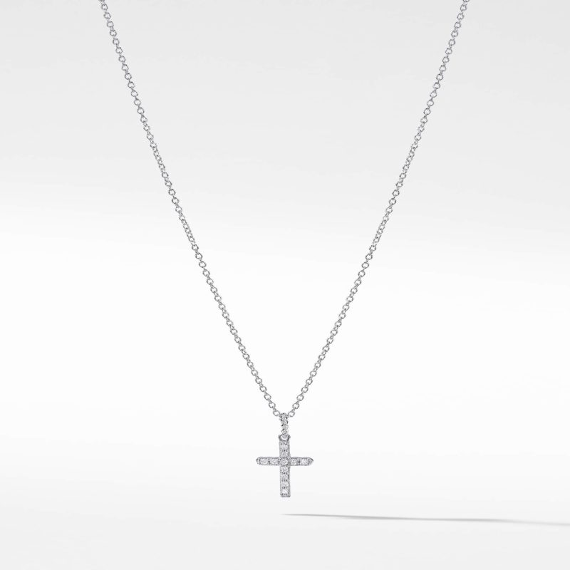 David Yurman Cable Collectibles Cross Necklace with Diamonds in 18K Gold Image 1