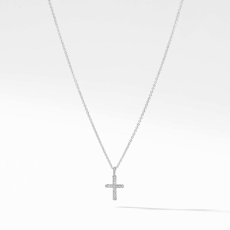 David Yurman Cable Collectibles Cross Necklace with Diamonds in 18K Gold Image 2