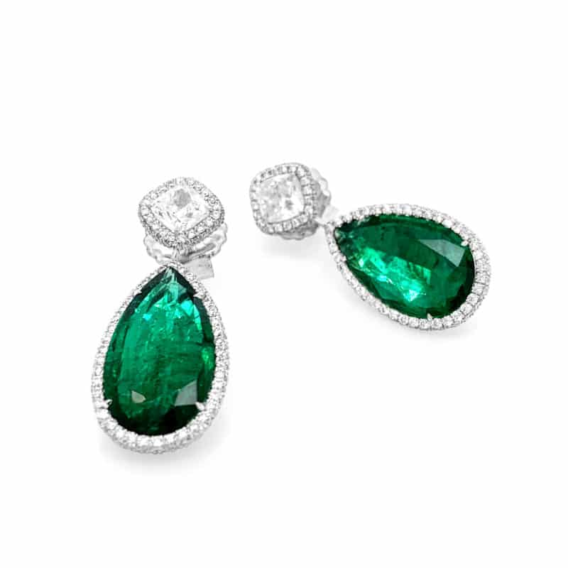 BC Clark Collection Emerald Emerald and Diamond Drop Earrings Image 3
