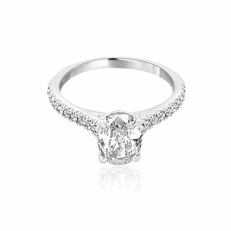 Henri Daussi Classic Oval Solitaire Engagement Ring Image 1