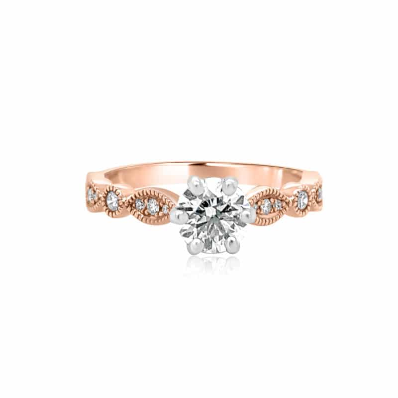 GRAVITY by BC Clark Rose Gold 6 Prong Vintage Inspired Wedding Band Image 1