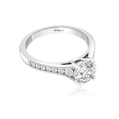 GRAVITY by BC Clark Textured Round Engagement Ring Image 2