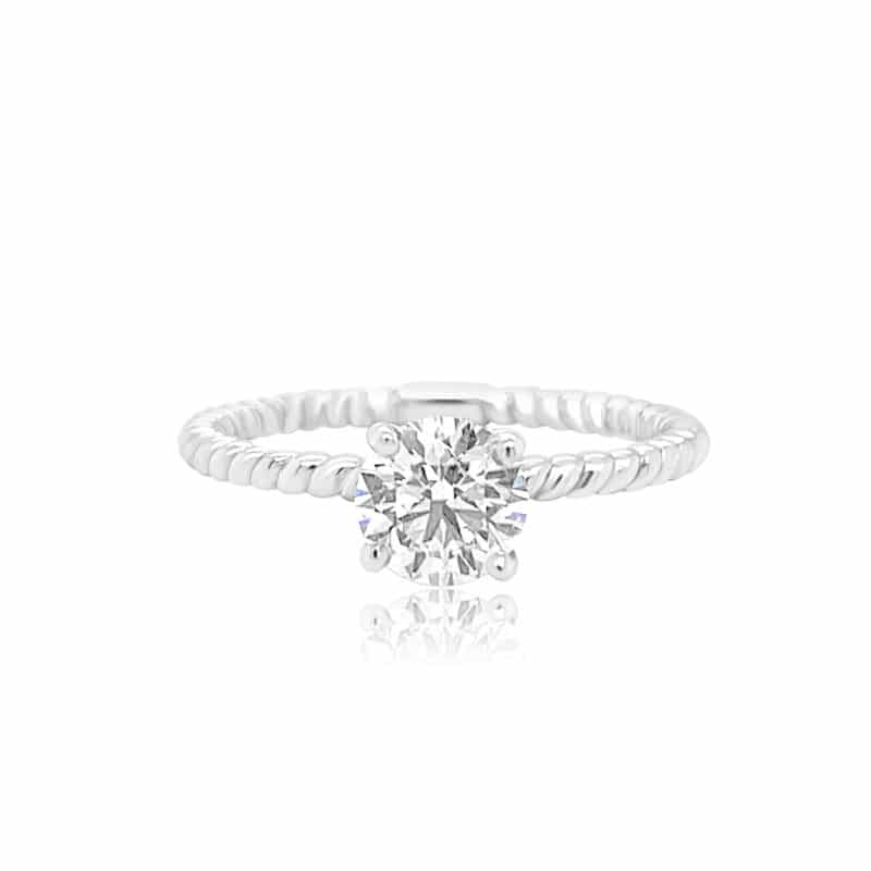 Gravity Forever Round Solitaire with Woven Band Engagement Ring Image 1