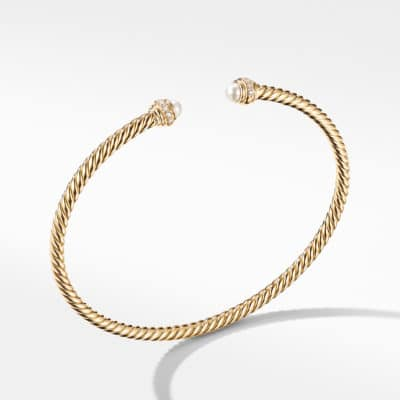 David Yurman Cable Spira Bracelet in 18K Yellow Gold with Pearls and  Diamonds Image